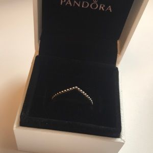 Silver Beaded Pandora Wish Ring